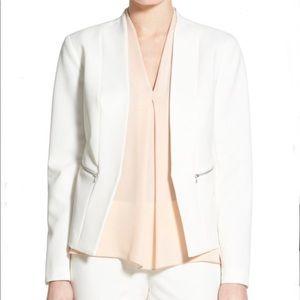 Halogen Zip Pocket Open Jacket Blazer Ivory Medium